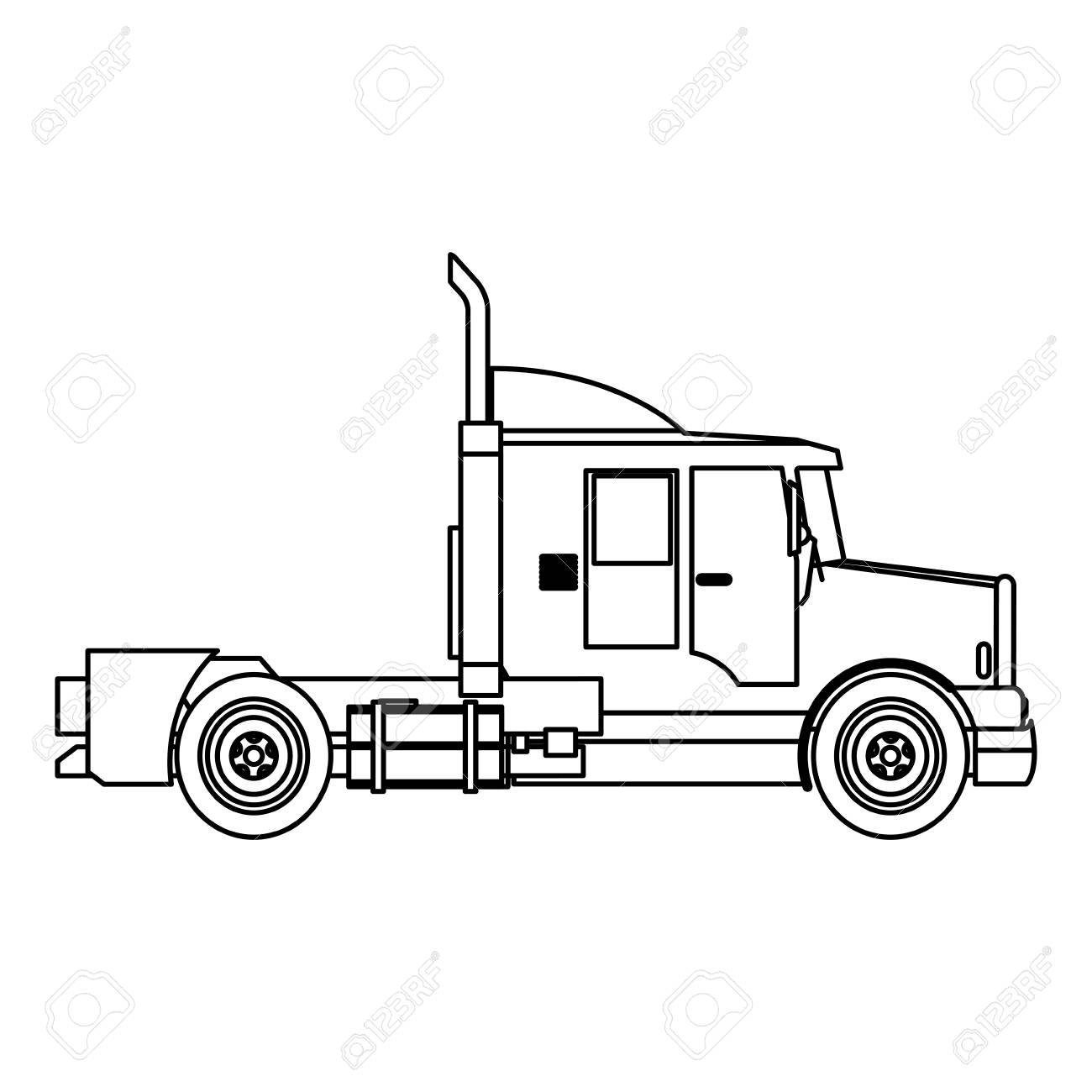1300x1300 Semi Truck Cab Vehicle Commerce Outline Vector Illustration