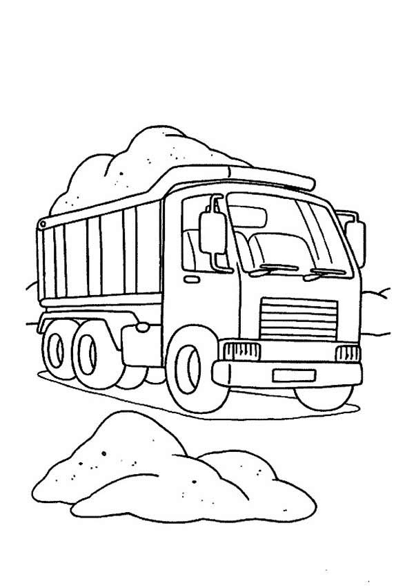 600x848 Semi Truck Contain Of Sand Coloring Page