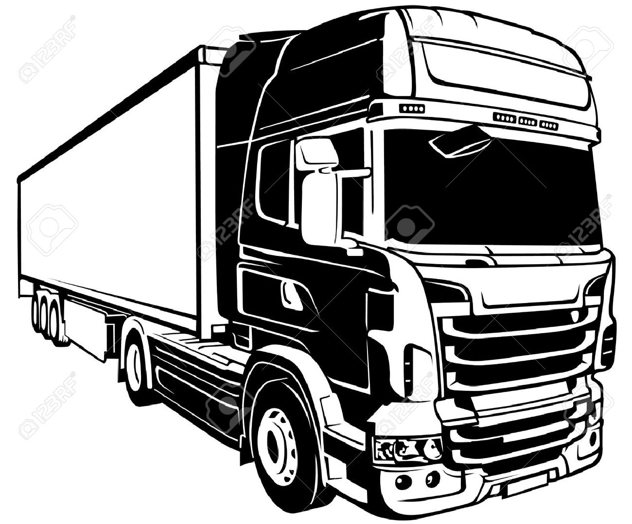1300x1079 Trailer Truck Black Outlined Illustration Vector Royalty Free