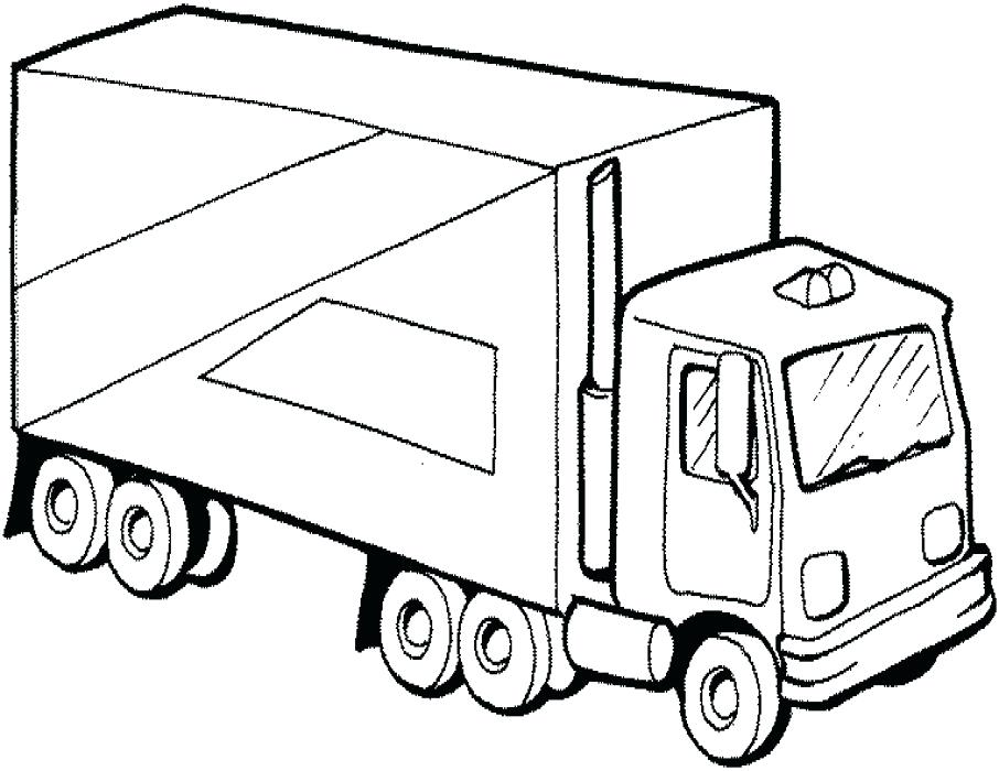 906x700 Great Coloring Pages Trucks Print Big Rig Trailer Semi Truck Page