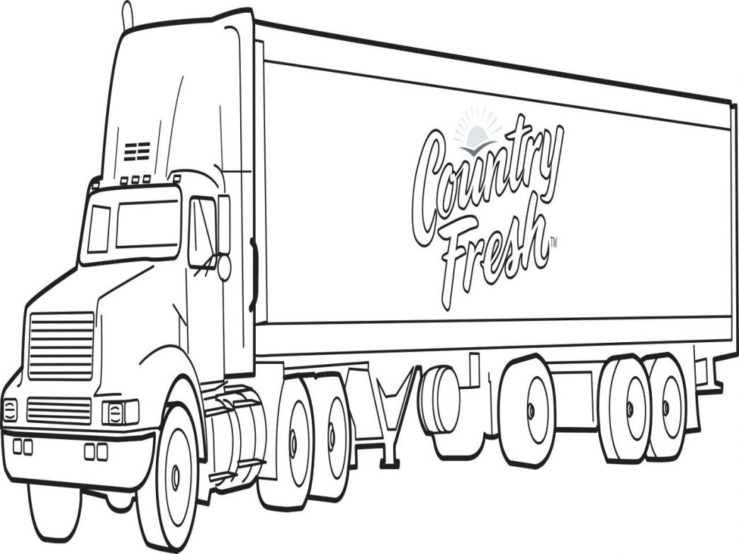 Semi Truck Line Drawing at GetDrawings.com | Free for personal use ...