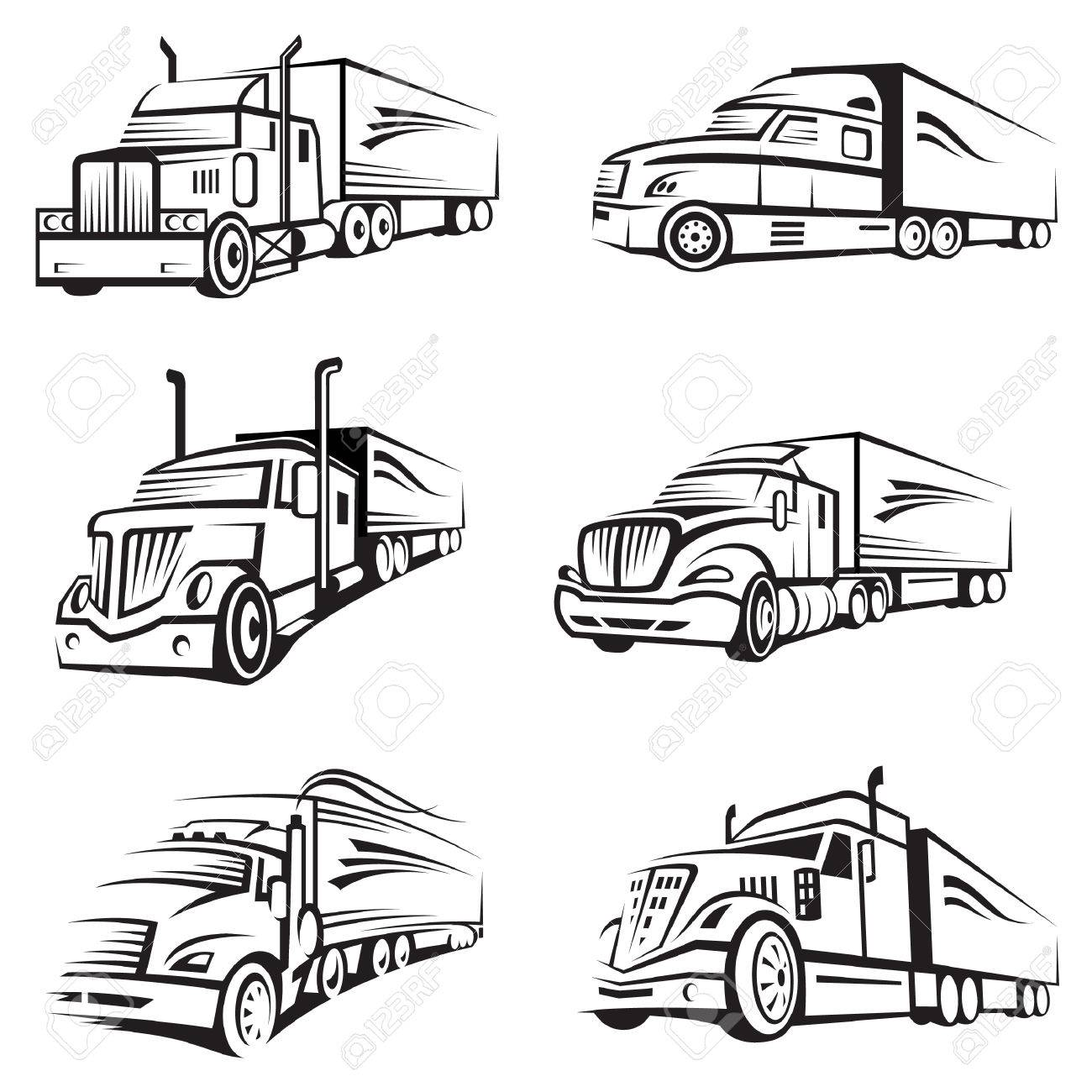 1300x1300 Monochrome Collection Of A Trucks With Trailer Royalty Free