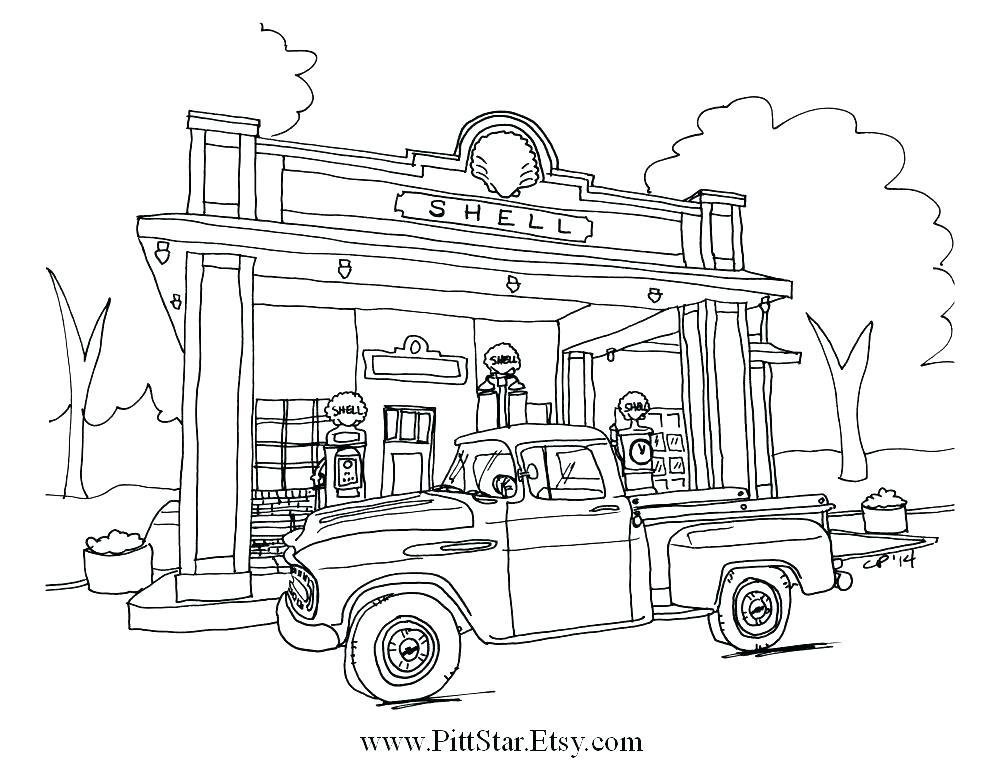 1000x773 Old Truck Coloring Pages