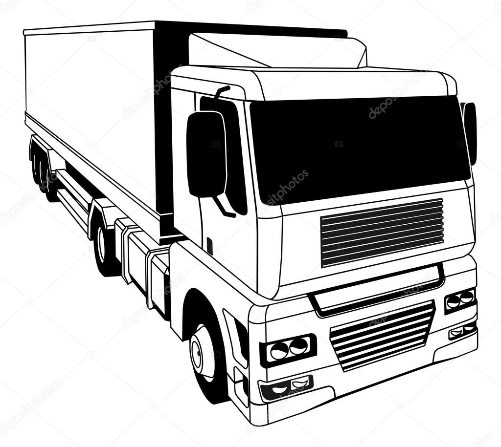 1024x915 Black And White Semi Truck Stock Vector Krisdog