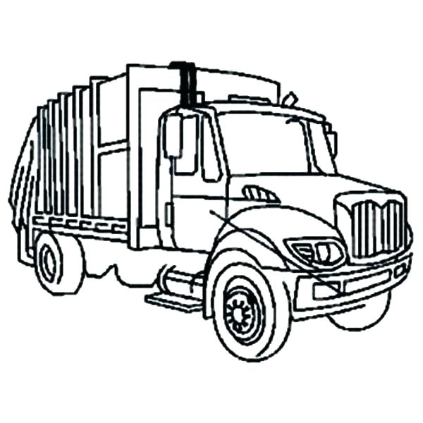 600x600 Coloring Pages Garbage Truck Garbage Truck In Semi Truck Coloring