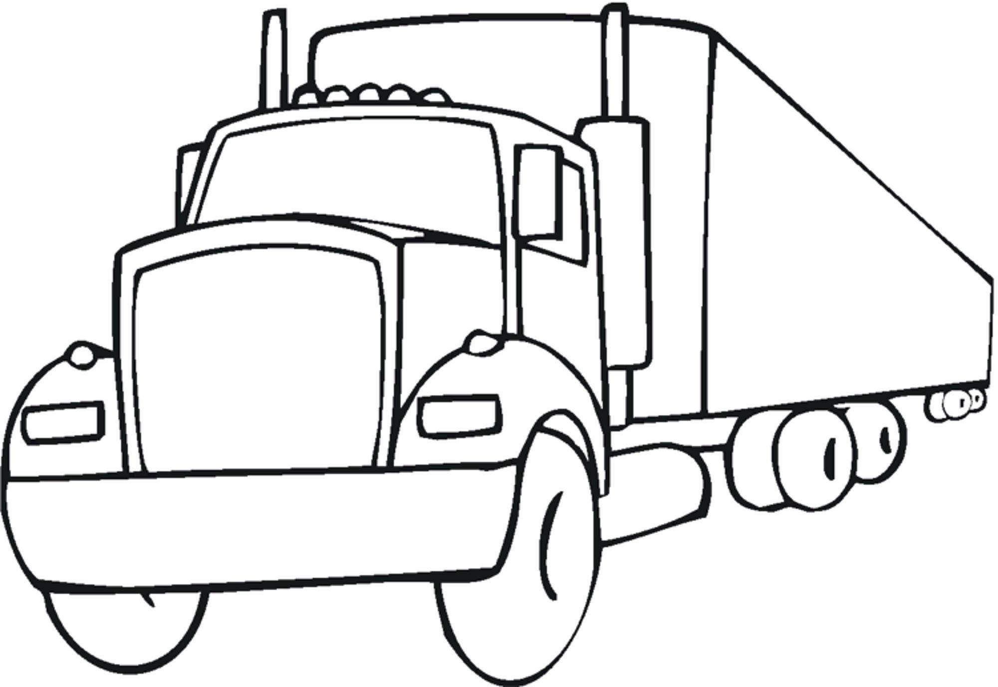 2000x1376 Coloring Semi Truck Page Regarding Decorations 5