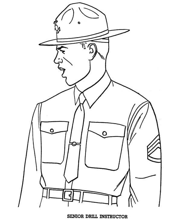 600x734 Senior Drill Instructor In Armed Forces Day Coloring Page Batch