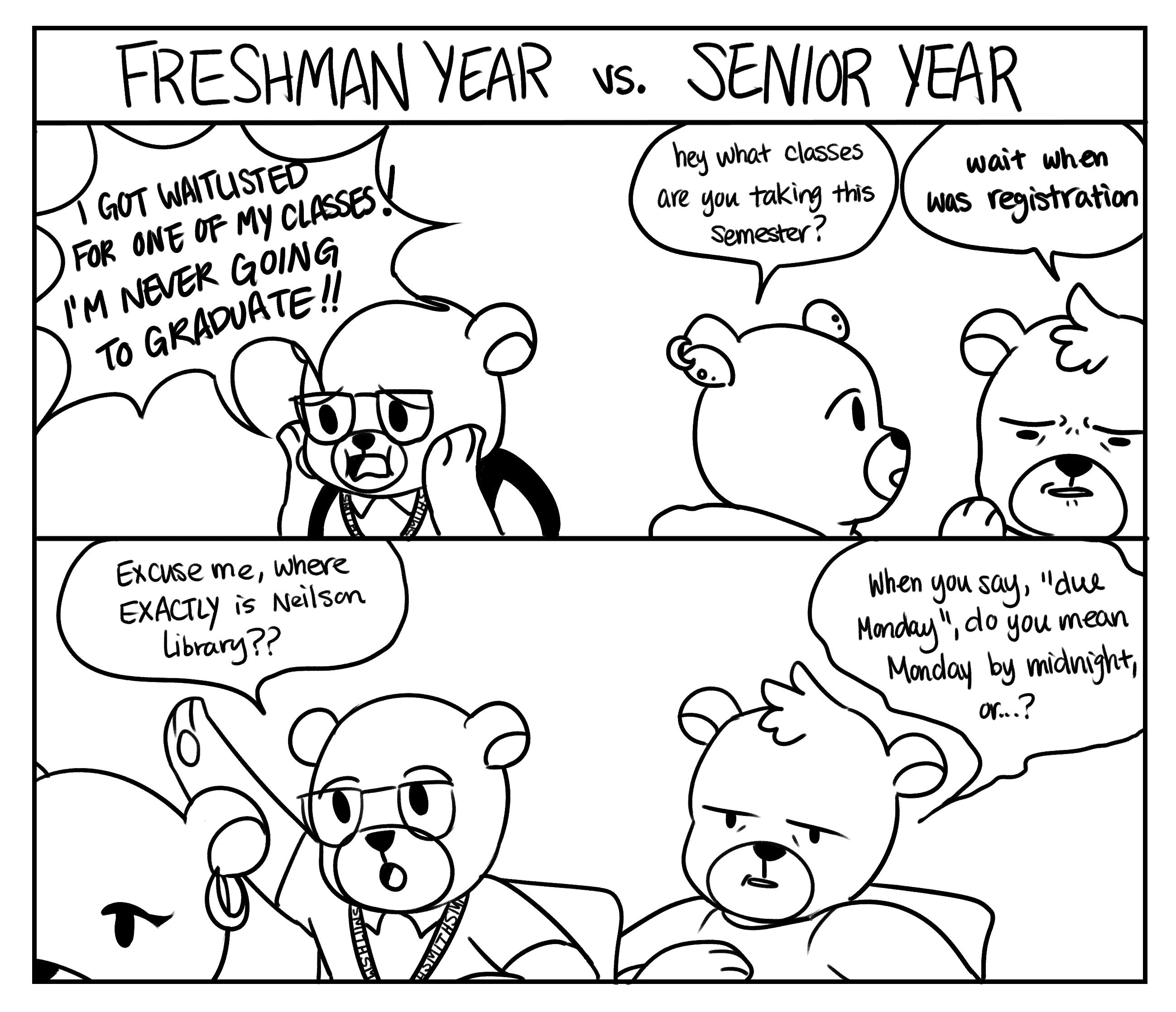 2597x2236 Weekly Comic Freshman Year Vs. Senior Year
