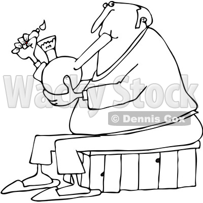 400x400 Of A Cartoon Black And White Chubby Senior Man Lighting A Bong