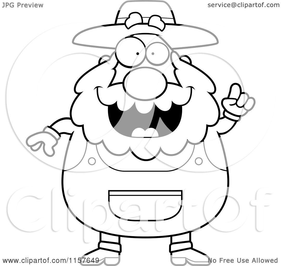 1080x1024 Cartoon Clipart Of A Blackd White Plump Senior Farmer