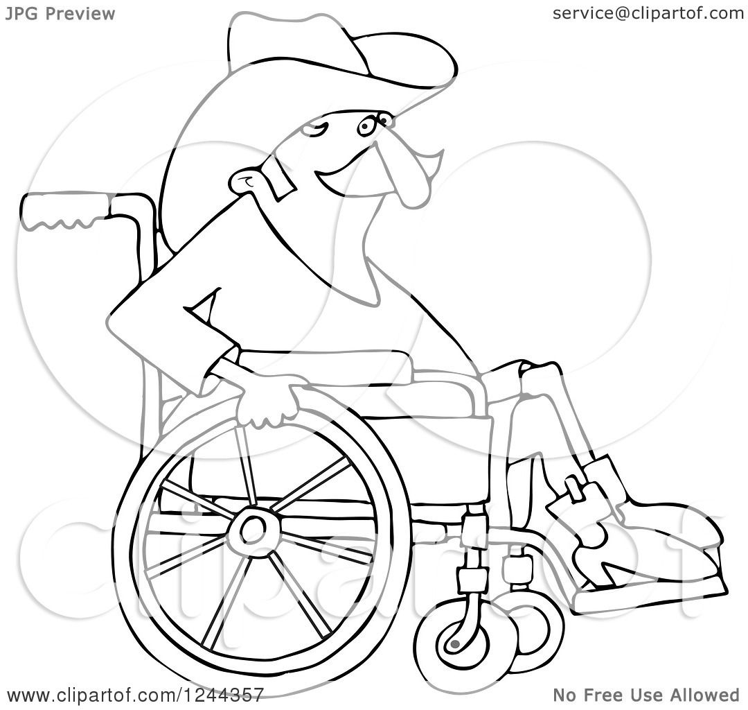1080x1024 Clipart Of A Black And White Senior Cowboy In A Wheelchair