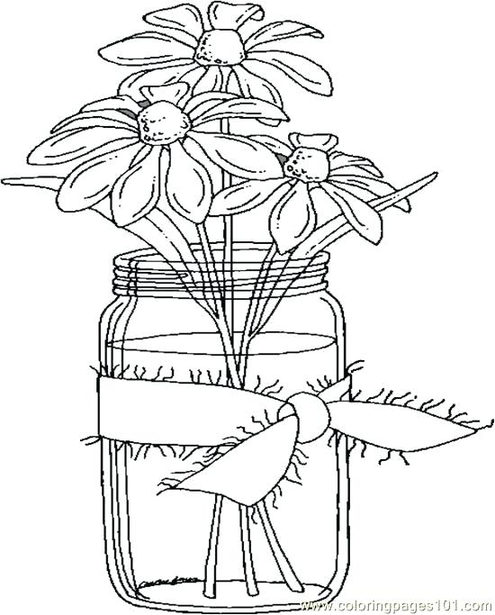 550x683 Coloring Books For Seniors Daisies In A Jar Coloring Page Coloring