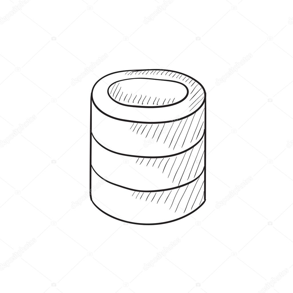 1024x1024 Computer Server Sketch Icon. Stock Vector Rastudio