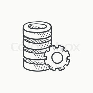 320x320 Computer Server Vector Sketch Icon Isolated On Background. Hand