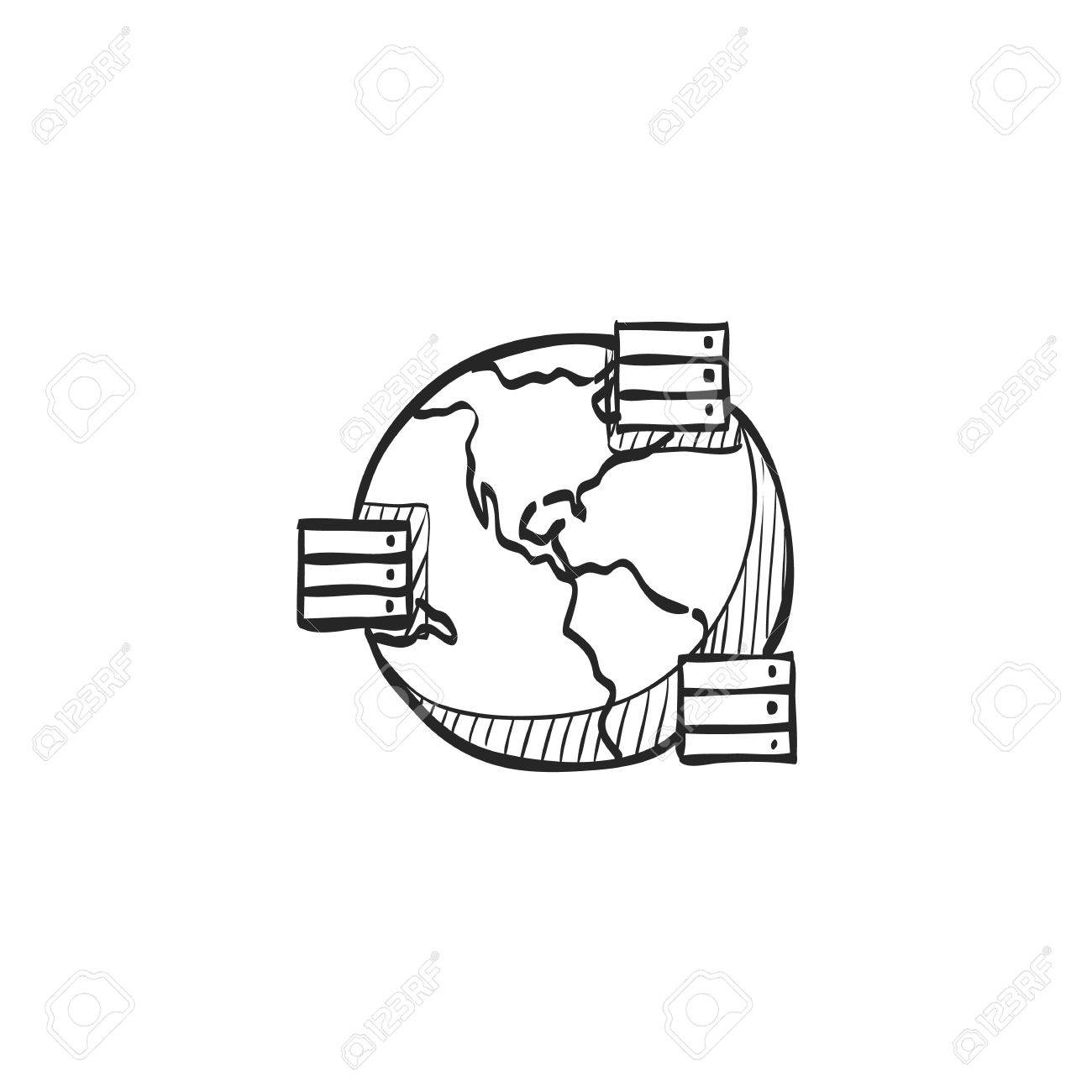 1300x1300 Server Icon In Doodle Sketch Lines. Mirror, Multiple Royalty Free
