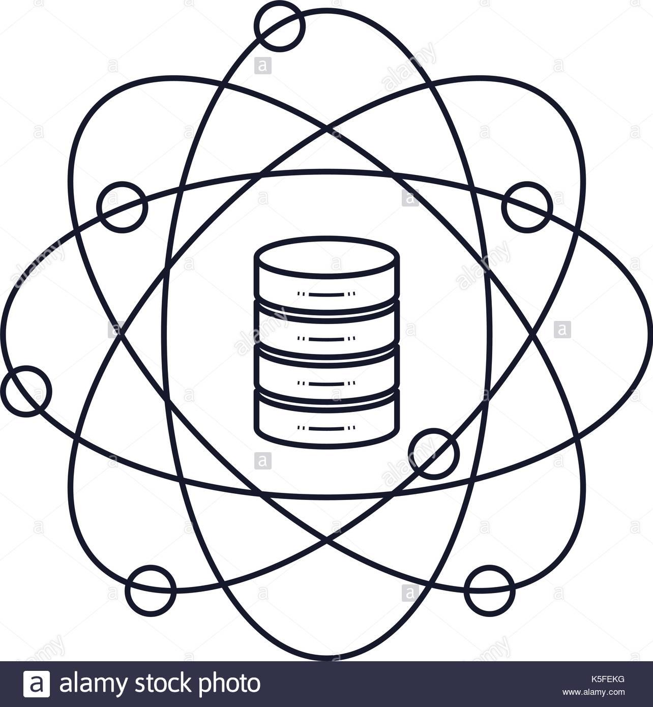 1284x1390 Data Science Atom Around Of Server Icon Monochrome Silhouette