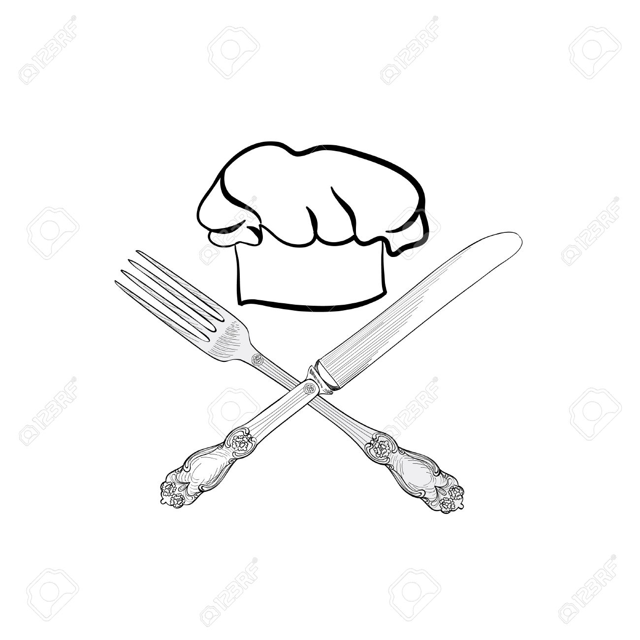 1300x1300 Chef Cook Hat With Fork And Knife Hand Drawing Sketch Label