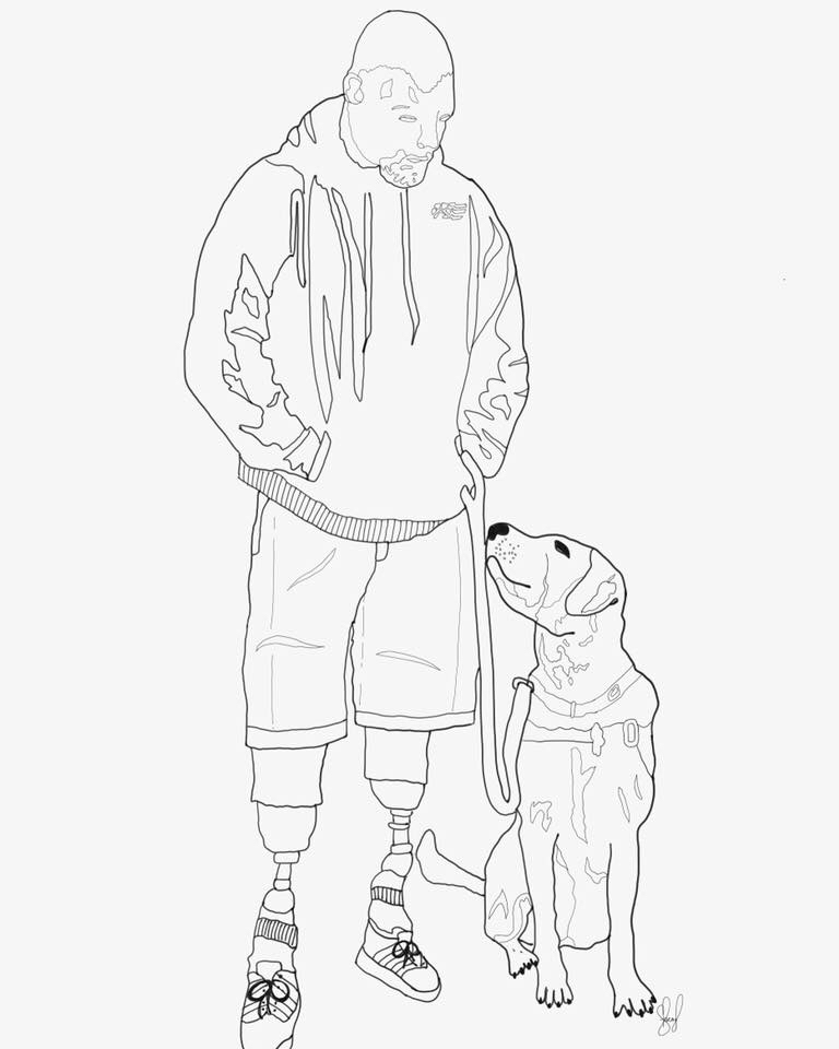 768x960 Custom Service Dog Drawing. Email
