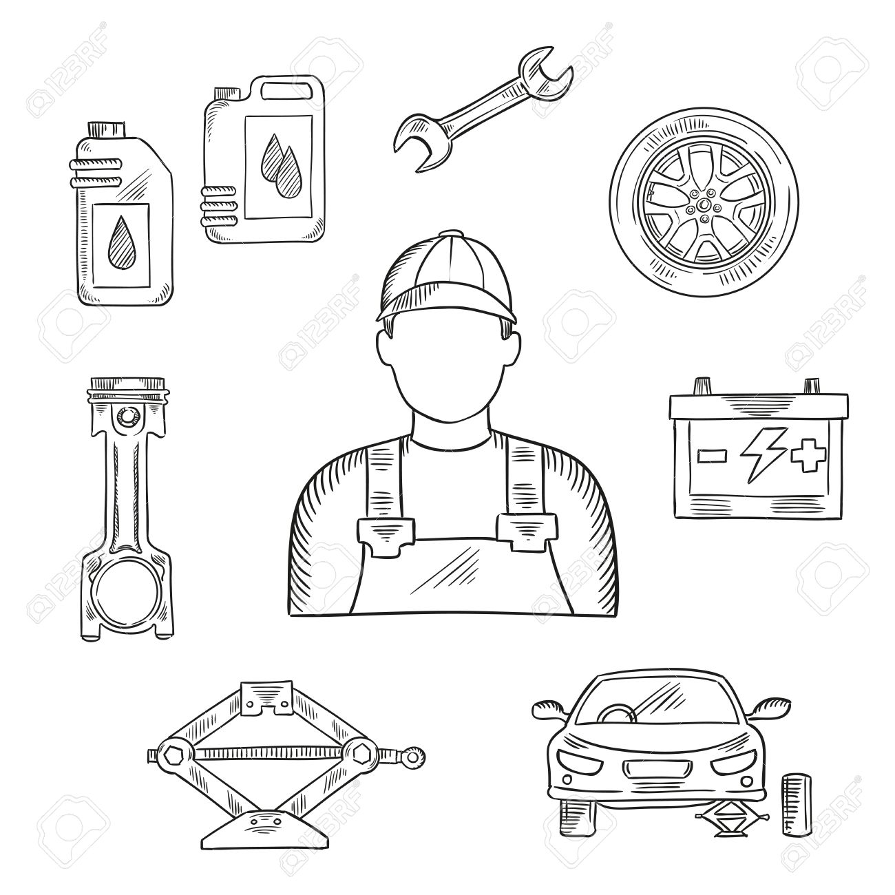 1300x1300 Professional Auto Mechanic Sketch Icon For Car Service Center