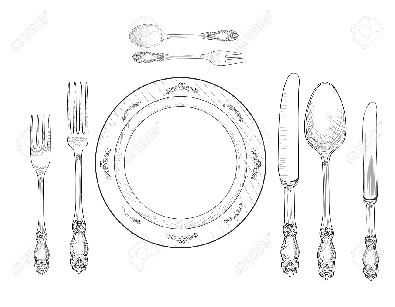 1300x1011 Table Setting Set. Fork, Knife, Spoon, Plate Sketch Set. Cutlery