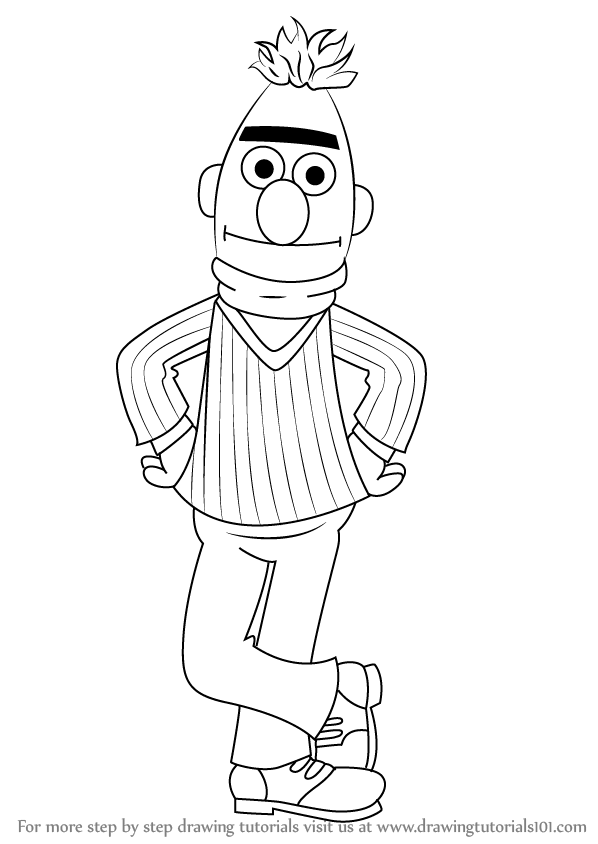 598x844 Learn How To Draw Bert From Sesame Street (Sesame Street) Step By