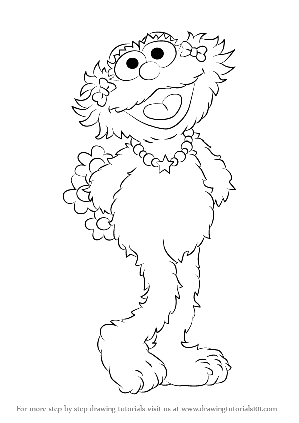 596x843 Learn How To Draw Zoe From Sesame Street (Sesame Street) Step By