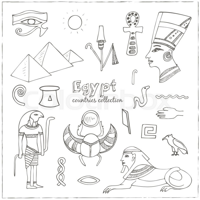 800x800 Egypt Symbols Set Sketches. Hand Drawing. Vector Illustration