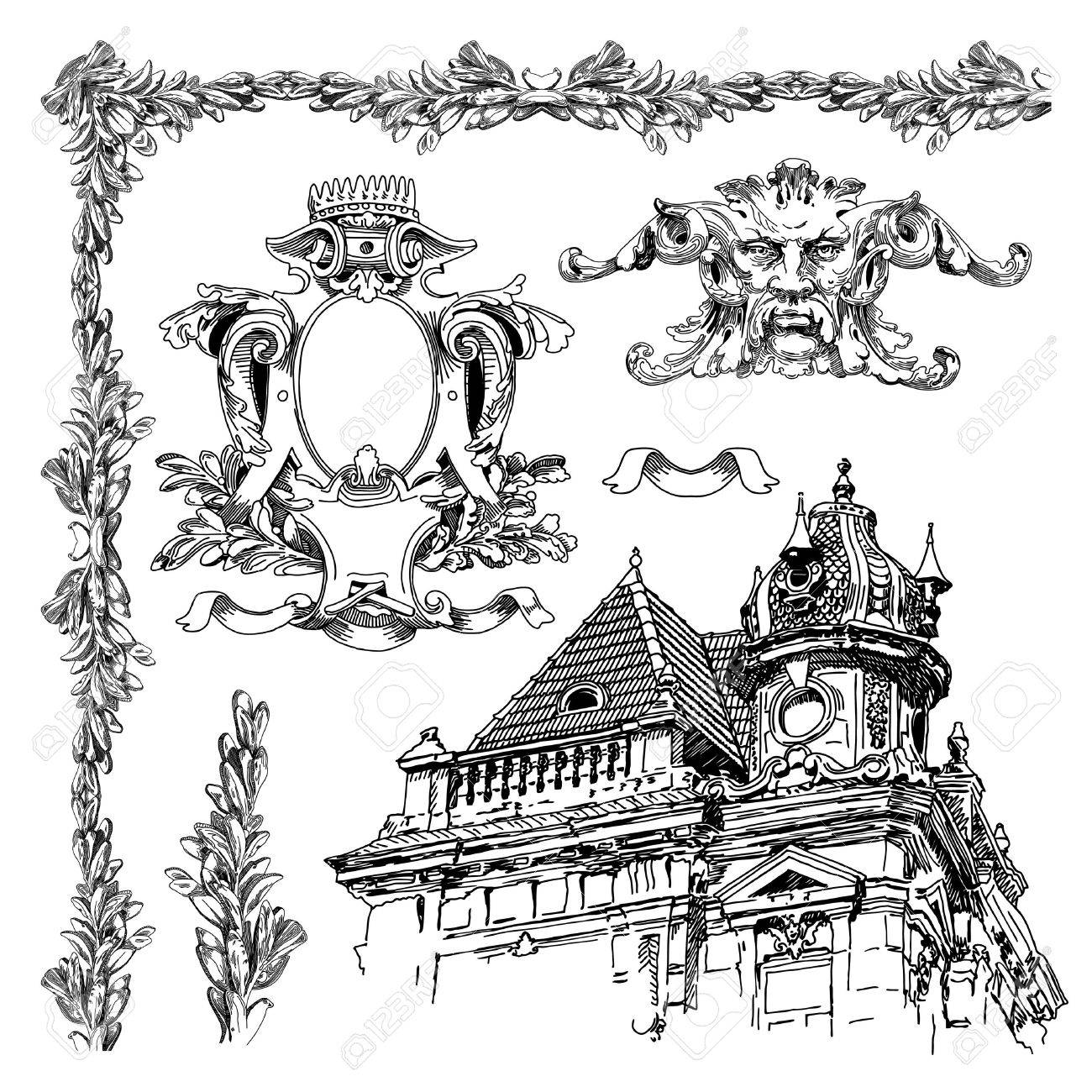 1300x1300 Hand Draw Vintage Sketch Ornamental Design Element Of Lviv