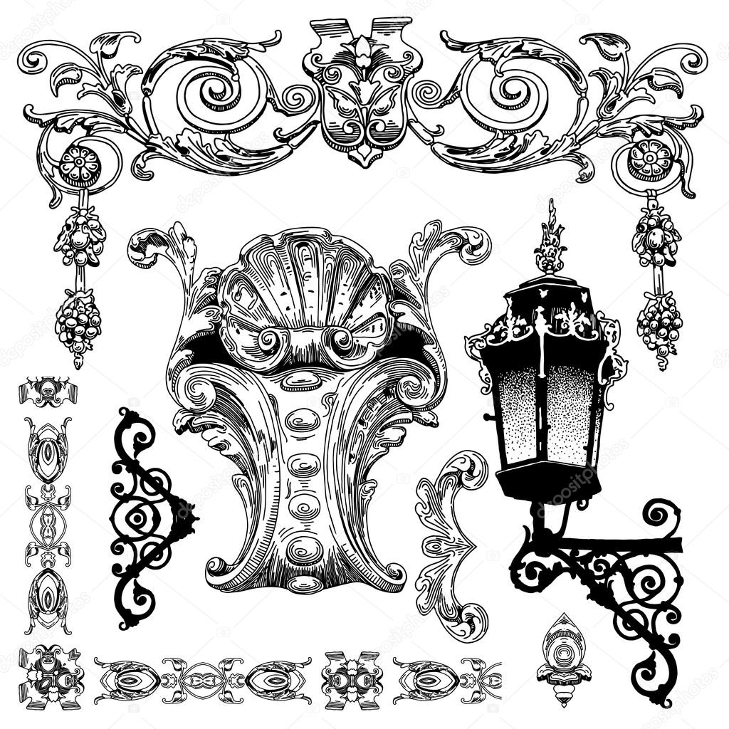 1024x1024 Hand Draw Vintage Sketch Ornamental Design Element Stock Vector