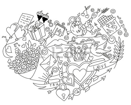 450x360 Happy Valentines Day Hand Drawing Design Set. Vector Illustration