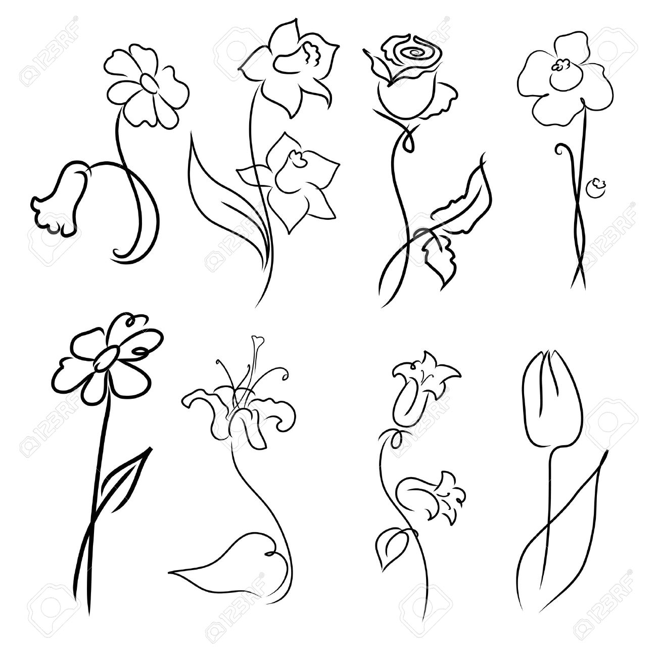 1300x1300 Simple Flower Designs For Pencil Drawing