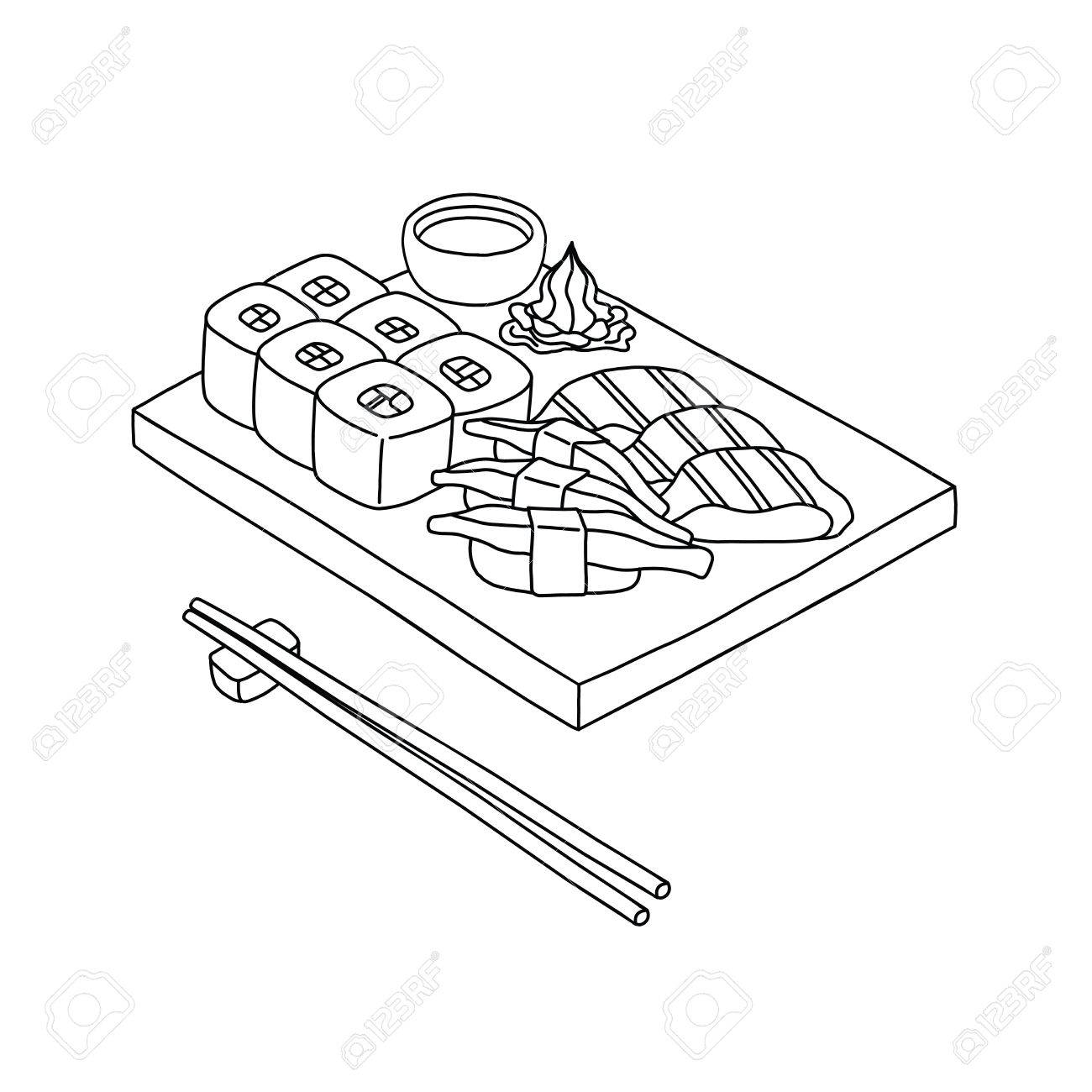 1300x1300 Sushi Set And Chopsticks Vector In Hand Drawn Style (Draw