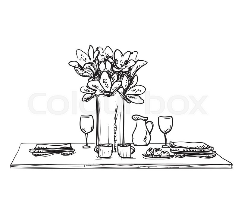 800x686 Table Setting Set. Weekend Breakfast Or Dinner. Hand Drawn Dishes
