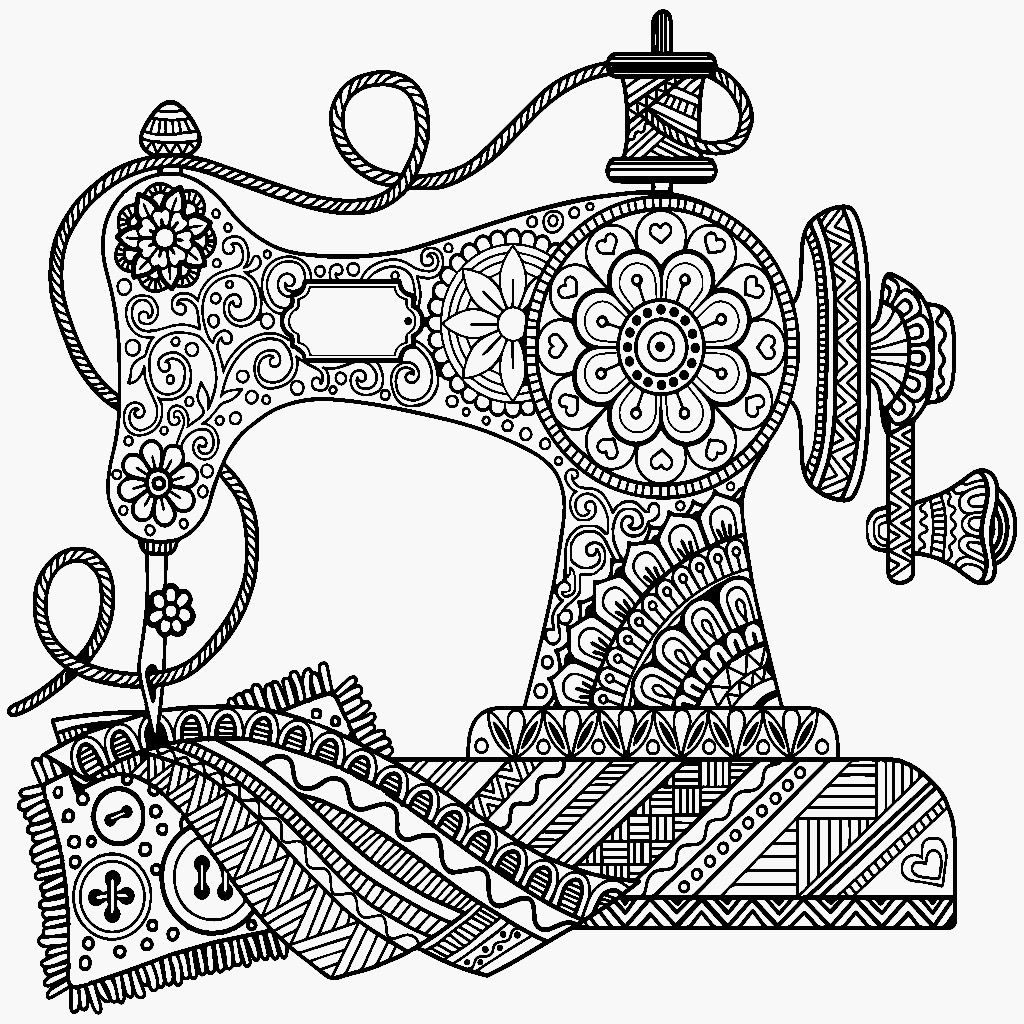 Sewing Machine Drawing At Free For Personal Use Thread A Diagram Labeled 1024x1024 Antique Zentangle Color Me App Coloring Pages