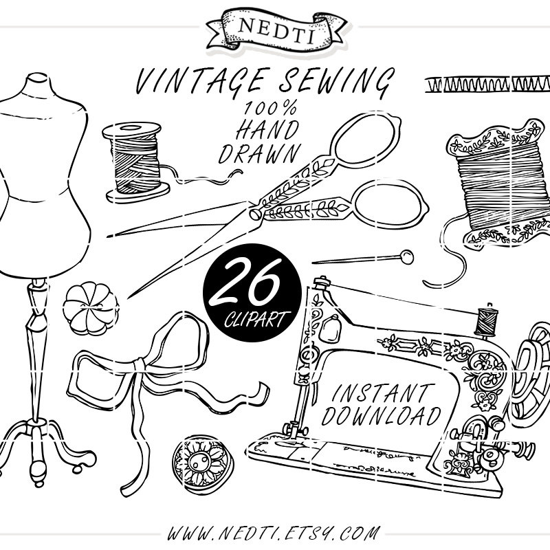 800x800 Vintage Sewing Fashion Doodle Hand Drawn Clipart Sketched