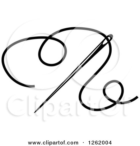 450x470 Clipart Of A Black And White Sewing Needle And Thread