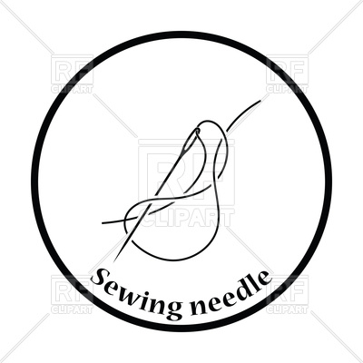 400x400 Thin Circle Design Of Sewing Needle Icon Royalty Free Vector Clip