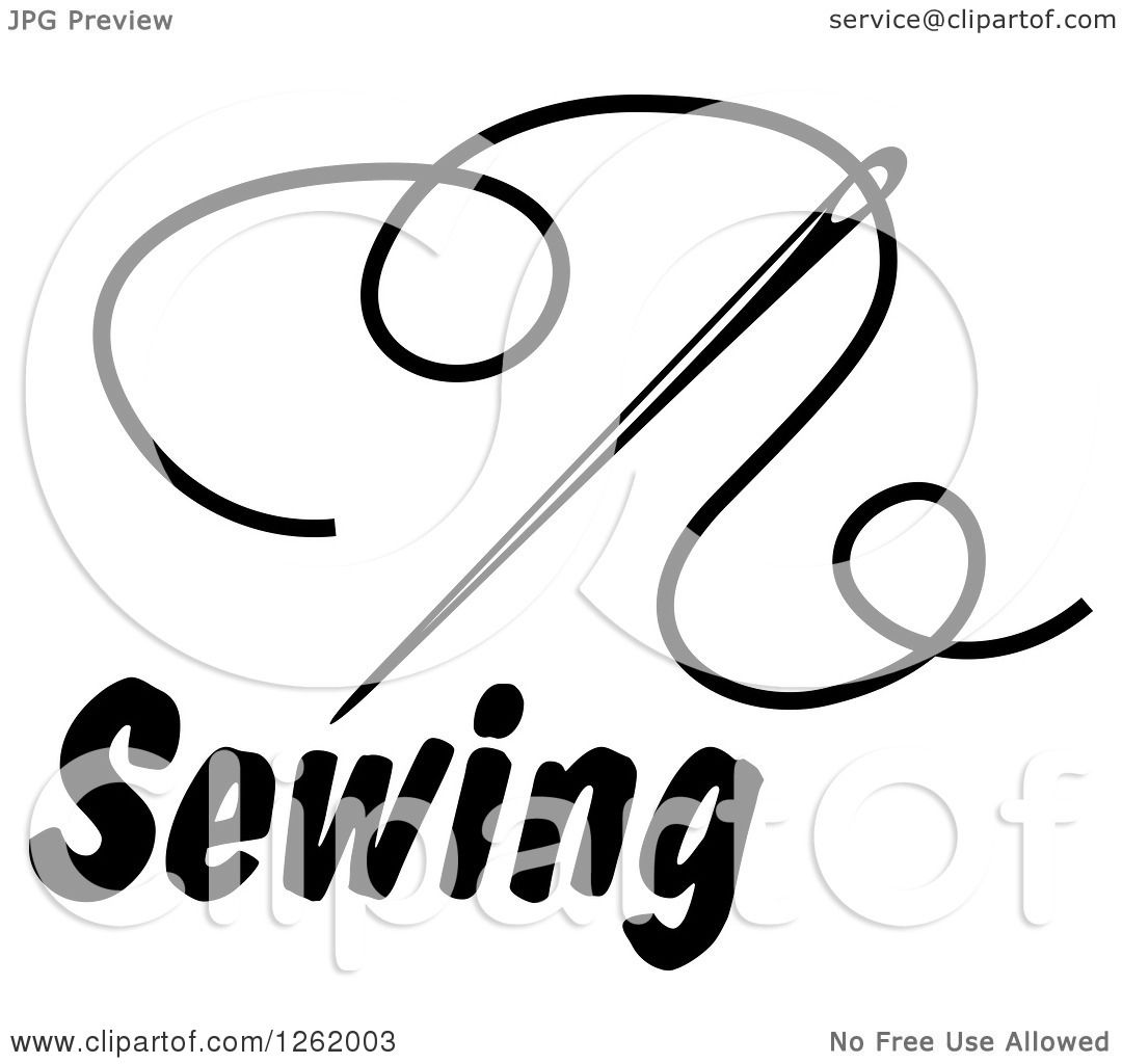 1080x1024 Clipart Of A Black And White Sewing Needle And Thread Over Text