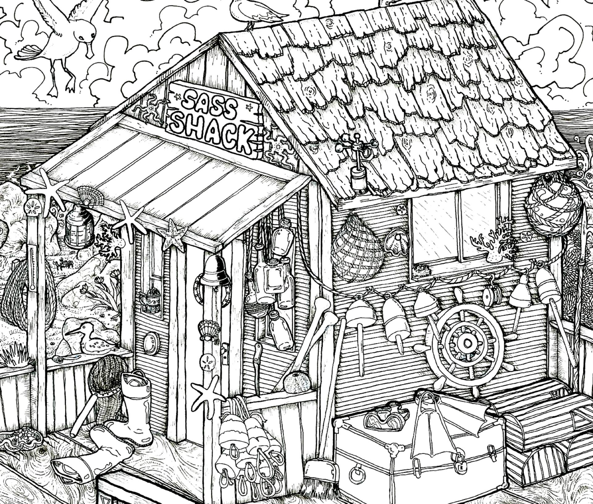 1920x1632 Saatchi Art Shack On The Beach Drawing By Clinton Bowers