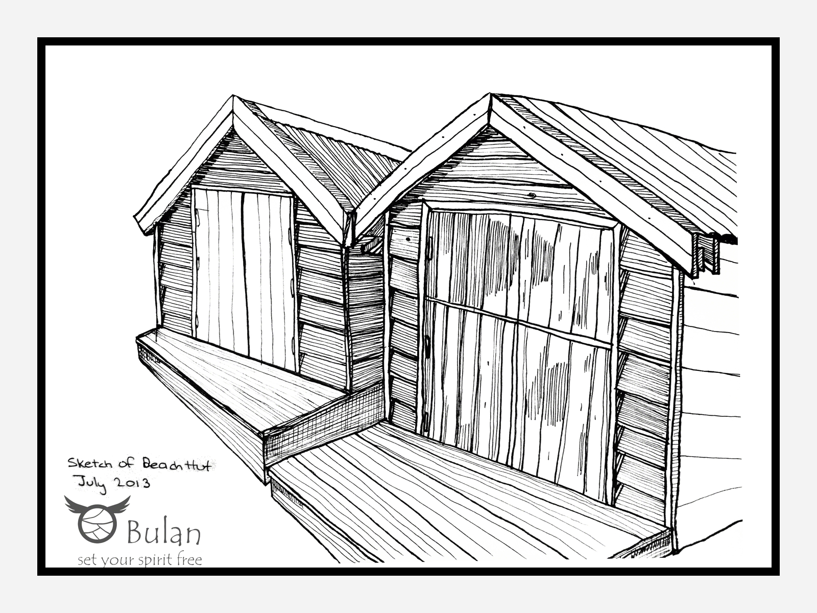 1600x1200 Sketch Of The Day 81 Beach Huts The Crazy Bag Lady