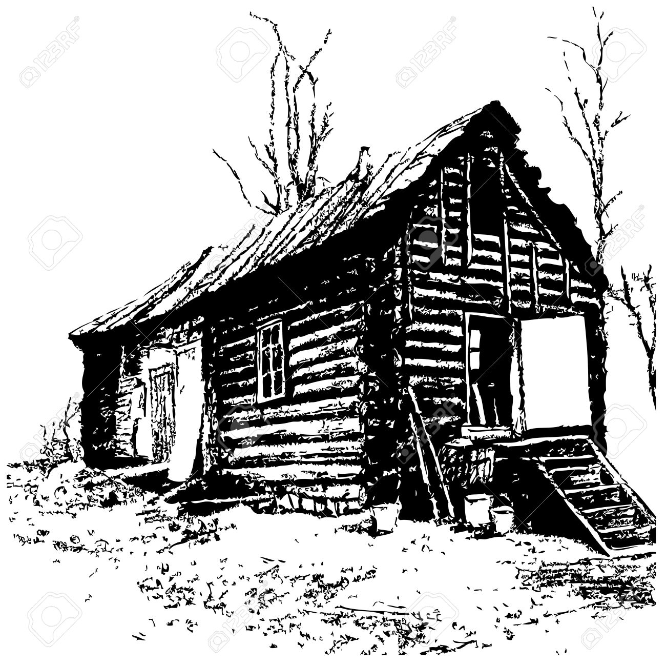 1300x1297 Expressive Drawing Of Old Rustic Log Home Royalty Free Cliparts