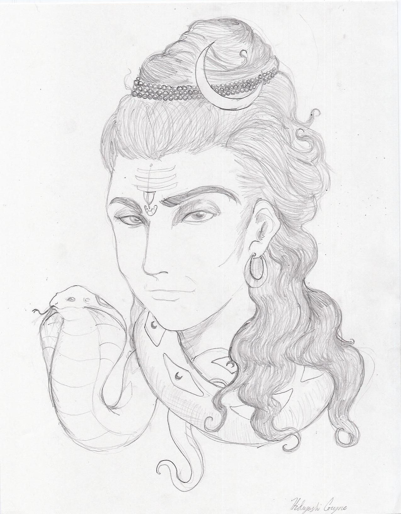 1275x1634 Lord Shiva Portrait In Pencil Shading Easy Pencil Drawings Of God