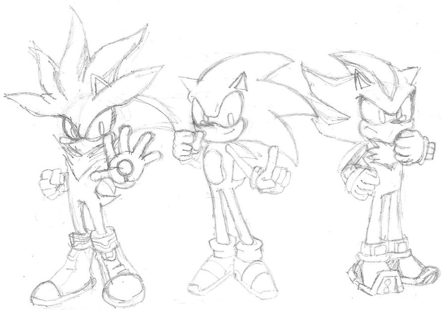 900x627 Sliver,sonic,shadow Drawing By Link2021