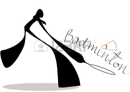 450x318 Shadow Man Badminton Cartoon Design Sport Symbol. Royalty Free