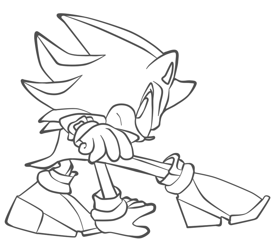 880x780 Shadow The Hedgehog Lineart By Cheesestick101