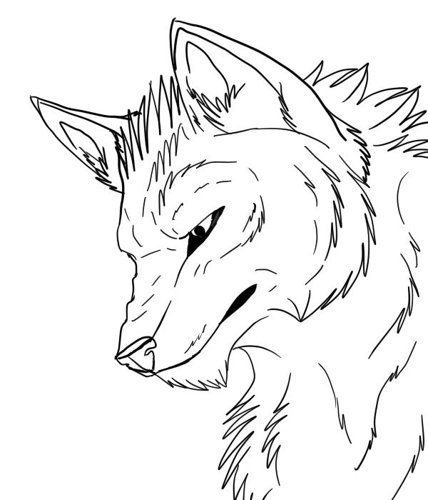 600x700 Wolf Head Lineart Freetocolor By Tengoku Shadows