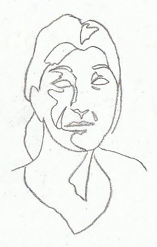 308x483 Contour Drawing A Woman's Face Showing Irregular Shapes