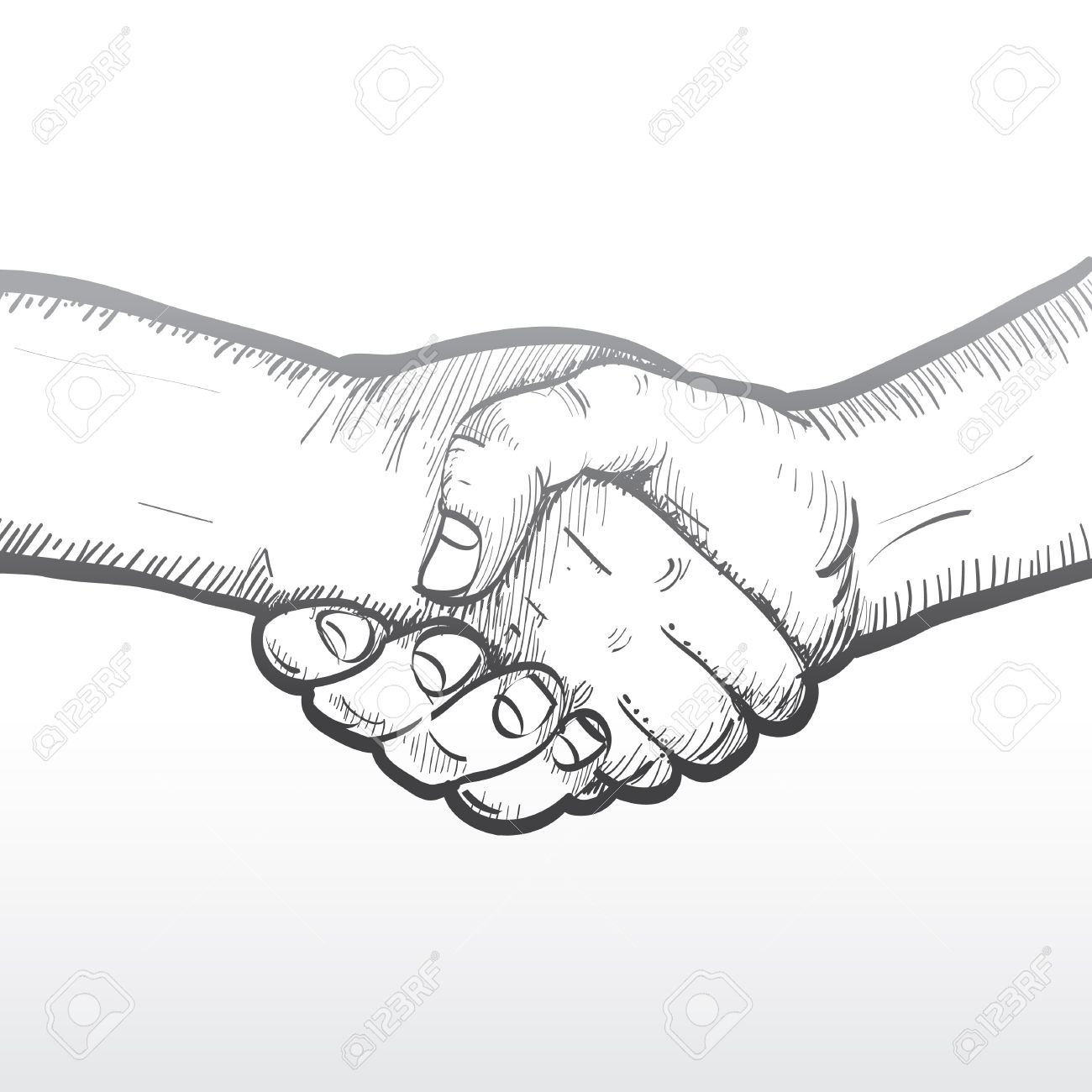 1300x1300 Sketch Of Two Shaking Hands Royalty Free Cliparts, Vectors,