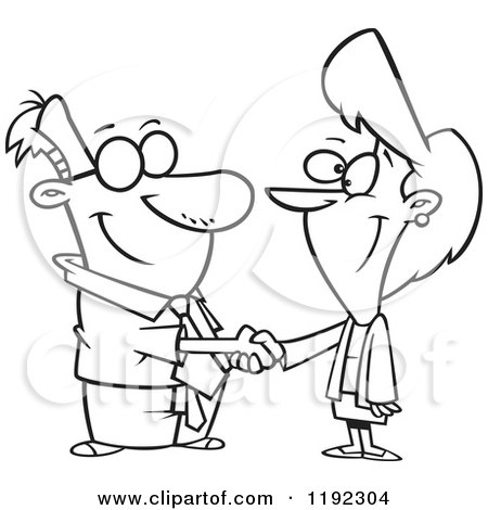 450x470 Cartoon Black And White Line Art Of A Business Man And Woman