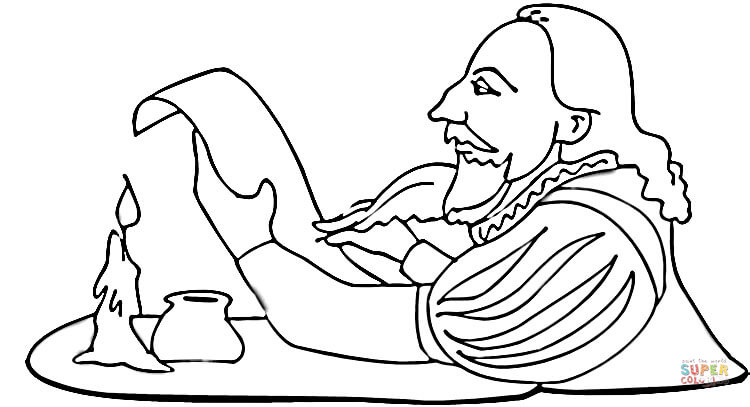 750x407 Shakespeare Is Writing A Play Coloring Page Free Printable
